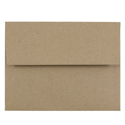 JAM Paper® A2 Invitation Envelopes, 4 3/8 x 5 3/4, Brown Kraft Paper Bag Recycled, 50/Pack (LEKR600I)