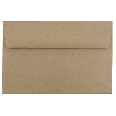JAM Paper® A9 Invitation Envelopes, 5.75 x 8.75, Brown Kraft Paper Bag Recycled, 250/box (LEKR875H)