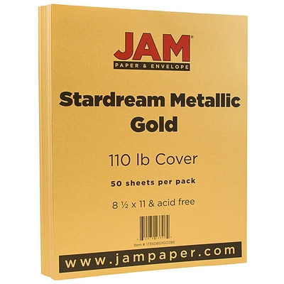 JAM Paper® Metallic Cardstock, 8.5 x 11, 110lb Stardream Metallic Gold, 50/pack (173SD8511GO285)