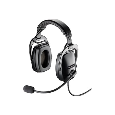 Plantronics® 92460-01 Ruggedized Wired Over-The-Head Headset, Black