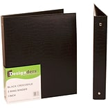 JAM Paper® Premium Crocodile Textured 3 Ring Binders, 1 Inch, Black, Sold Individually (751CBL)