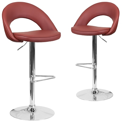 Flash Furniture Burgundy Vinyl Rounded Back Adjustable Height Barstool with Chrome Set of 2 (CH-132491-BURG-GG)