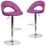 Flash Furniture Purple Vinyl Rounded Back Adjustable Height Barstool with Chrome Set of 2 (CH-132491