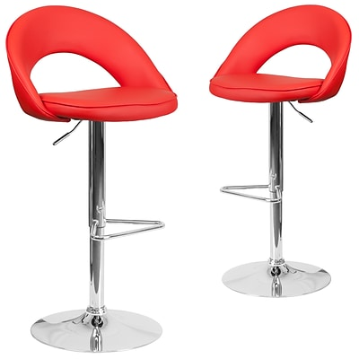 Flash Furniture Red Vinyl Rounded Back Adjustable Height Barstool with Chrome Set of 2 (CH-132491-RED-GG)