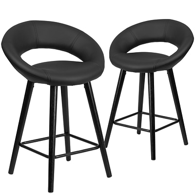 Flash Furniture Kelsey Series 24 High Black Vinyl Counter Height Stool with Wood Frame, Set of 2(2-CH-152551-BK-VY-GG)