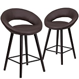 Flash Furniture Kelsey Series 24 High Brown Vinyl Counter Height Stool with Wood Frame, Set of 2(2
