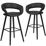 Flash Furniture Brynn Series 29 High Black Vinyl Barstool with Wood Frame, Set of 2(CH-152560-BK-V