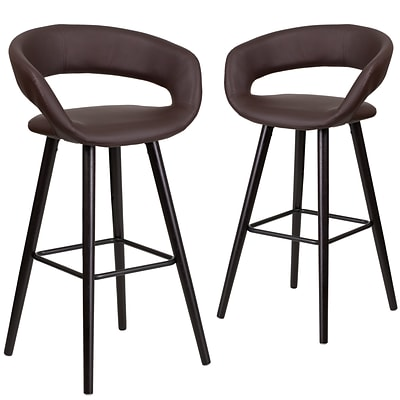 Flash Furniture Brynn Series 29 High Brown Vinyl Barstool with Wood Frame, Set of 2(CH-152560-BRN-VY-GG)