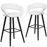 Flash Furniture Brynn Series 29 High White Vinyl Barstool with Wood Frame, Set of 2(CH-152560-WH-V