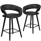 Flash Furniture Brynn Series 24 High Black Vinyl Counter Height Stool with Wood Frame, Set of 2 (C