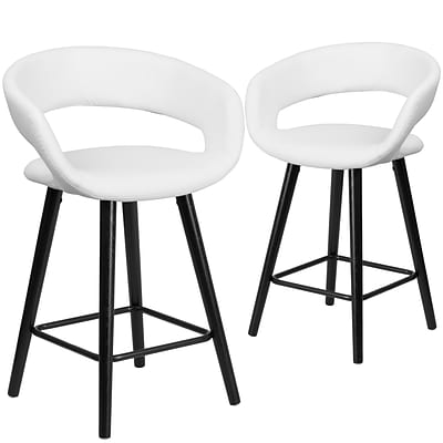 Flash Furniture Brynn Series 24 High White Vinyl Counter Height Stool with Wood Frame, Set of 2 (CH-152561-WH-VY-GG)