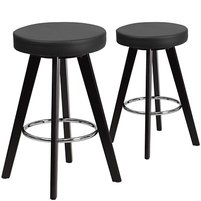 Flash Furniture Trenton Series 24 High Black Vinyl Counter Height Stool with Wood Frame, Set of 2 (CH-152600-BK-VY-GG)