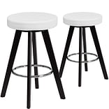 Flash Furniture Trenton Series 24 High White Vinyl Counter Height Stool with Wood Frame, Set of 2