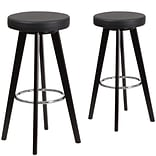 Flash Furniture Trenton Series 29 High Black Vinyl Barstool with Wood Frame, Set of 2 (CH-152601-B
