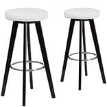 Flash Furniture Trenton Series 29 High White Vinyl Barstool with Wood Frame, Set of 2 (CH-152601-W