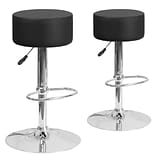 Flash Furniture Black Vinyl Adjustable Height Barstool with Chrome Base (2-CH-82056-BK-GG)