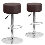 Flash Furniture Brown Vinyl Adjustable Height Barstool with Chrome Base, Set of 2 (2-CH-82056-BRN-GG