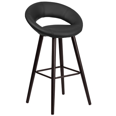 Flash Furniture Kelsey Series 29 High Contemporary Black Vinyl Barstool with Cappuccino Wood Frame (CH-152550-BK-VY-GG)
