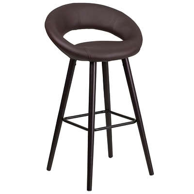Flash Furniture Kelsey Series 29 High Contemporary Brown Vinyl Barstool with Cappuccino Wood Frame (CH-152550-BRN-VY-GG)