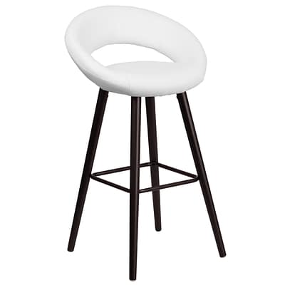 Flash Furniture Kelsey Series 29 High Contemporary White Vinyl Barstool with Cappuccino Wood Frame (CH-152550-WH-VY-GG)