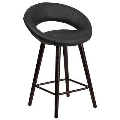 Flash Furniture Kelsey Series 24 High Contemporary Black Vinyl Counter Height Stool with Wood Frame (CH-152551-BK-VY-GG)