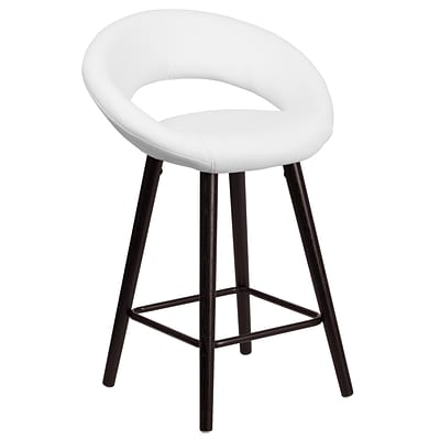 Flash Furniture Kelsey Series 24 High Contemporary White Vinyl Counter Height Stool with Wood Frame (CH-152551-WH-VY-GG)
