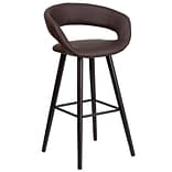 Flash Furniture Brynn Series 29 High Contemporary Brown Vinyl Barstool with Wood Frame (CH-152560-