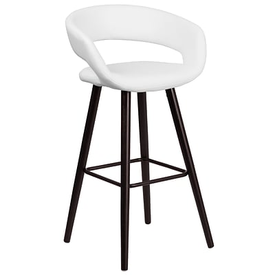 Flash Furniture Brynn Series 29 High Contemporary White Vinyl Barstool with Wood Frame (CH-152560-WH-VY-GG)