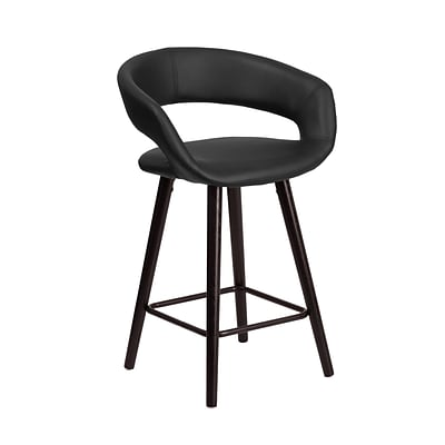 Flash Furniture Brynn Series 24 High Contemporary Black Vinyl Counter Height Stool with Wood Frame (CH-152561-BK-VY-GG)