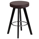 Flash Furniture Trenton Series 24 High Contemporary Brown Vinyl Counter Height Stool with Wood Fra