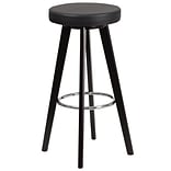 Flash Furniture Trenton Series 29 High Contemporary Black Vinyl Barstool with Cappuccino Wood Fram