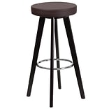 Flash Furniture Trenton Series 29 High Contemporary Brown Vinyl Barstool with Cappuccino Wood Fram