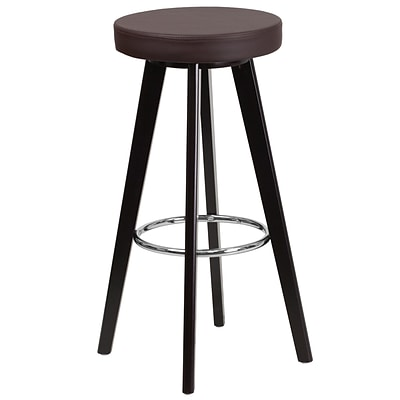 Flash Furniture Trenton Series 29 High Contemporary Brown Vinyl Barstool with Cappuccino Wood Frame (CH-152601-BRN-VY-GG)