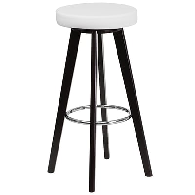 Flash Furniture Trenton Series 29 High Contemporary White Vinyl Barstool with Cappuccino Wood Frame (CH-152601-WH-VY-GG)
