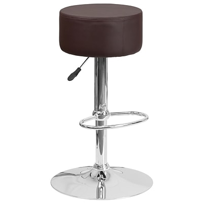 Flash Furniture Contemporary Brown Vinyl Adjustable Height Barstool with Chrome Base (CH-82056-BRN-GG)