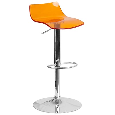 Flash Furniture Contemporary Transparent Orange Acrylic Adjustable Height Barstool with Chrome Base (CH-88005-OR-GG)