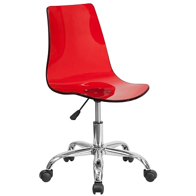 Flash Furniture Contemporary Transparent Red Acrylic Task Chair with Chrome Base (CH-98018-RED-GG)