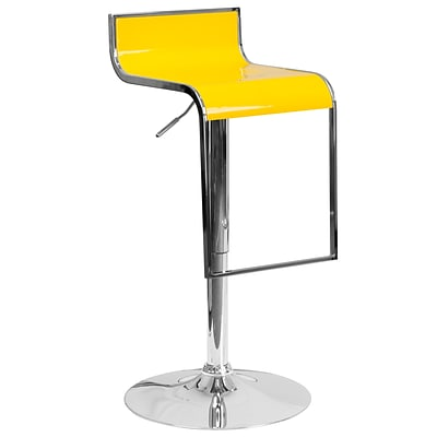 Flash Furniture Contemporary Yellow Plastic Adjustable Height Barstool with Chrome Drop Frame (CH-TC3-1027P-YEL-GG)