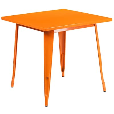 Flash Furniture 31.5 Square Orange Metal Indoor-Outdoor Table (ET-CT002-1-OR-GG)
