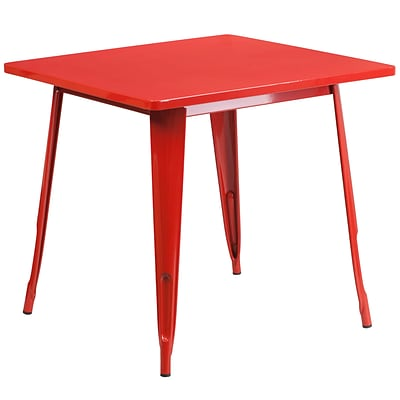 Flash Furniture 31.5 Square Red Metal Indoor-Outdoor Table (ET-CT002-1-RED-GG)