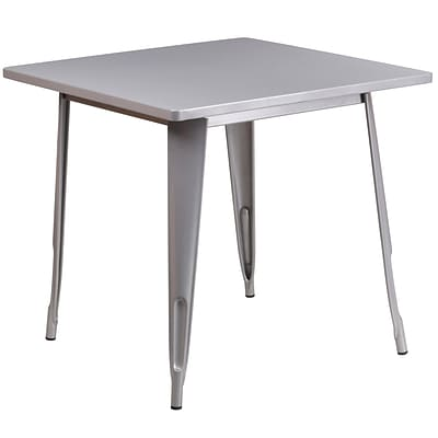 Flash Furniture 31.5 Square Silver Metal Indoor-Outdoor Table (ET-CT002-1-SIL-GG)