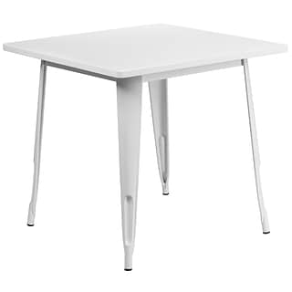 Flash Furniture 31.5 Square White Metal Indoor-Outdoor Table (ET-CT002-1-WH-GG)