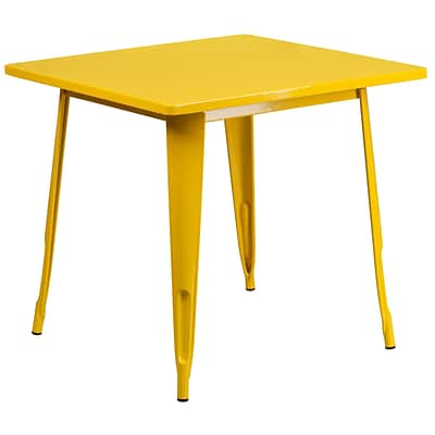 Flash Furniture 31.5 Square Yellow Metal Indoor-Outdoor Table (ET-CT002-1-YL-GG)