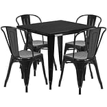 Flash Furniture 31.5 Square Black Metal Indoor-Outdoor Table Set with 4 Stack Chairs (ET-CT002-4-3
