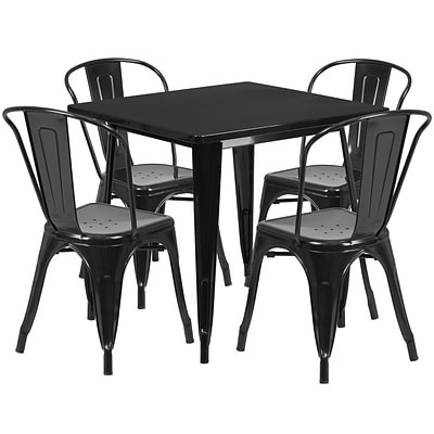 Flash Furniture 31.5 Square Black Metal Indoor-Outdoor Table Set with 4 Stack Chairs (ET-CT002-4-30-BK-GG)