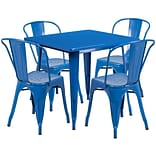 Flash Furniture 31.5 Square Blue Metal Indoor-Outdoor Table Set with 4 Stack Chairs (ET-CT002-4-30