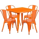 Flash Furniture 31.5 Square Orange Metal Indoor-Outdoor Table Set with 4 Stack Chairs (ET-CT002-4-
