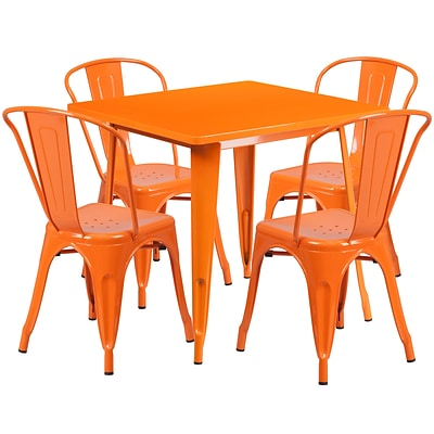 Flash Furniture 31.5 Square Orange Metal Indoor-Outdoor Table Set with 4 Stack Chairs (ET-CT002-4-30-OR-GG)