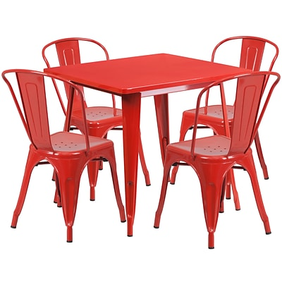 Flash Furniture 31.5 Square Red Metal Indoor-Outdoor Table Set with 4 Stack Chairs (ET-CT002-4-30-RED-GG)