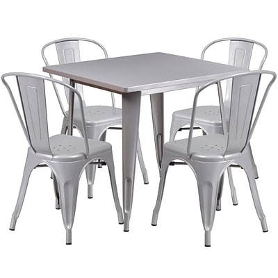 Flash Furniture 31.5 Square Silver Metal Indoor-Outdoor Table Set with 4 Stack Chairs (ET-CT002-4-30-SIL-GG)